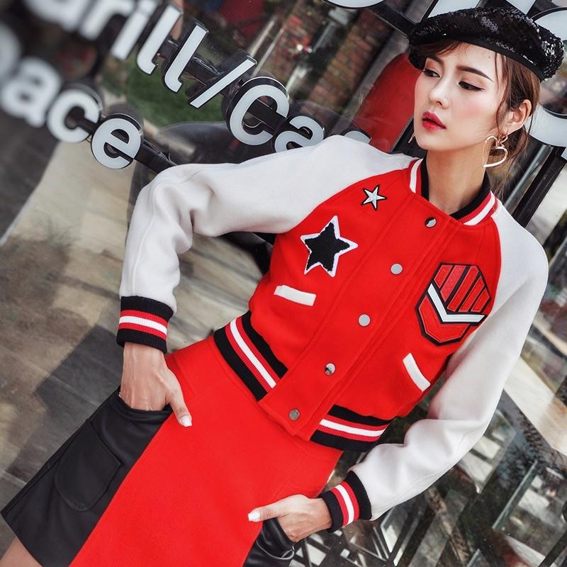 Mariage - Split Front Embroidery Baseball Outfit Skirt Coat - Bonny YZOZO Boutique Store