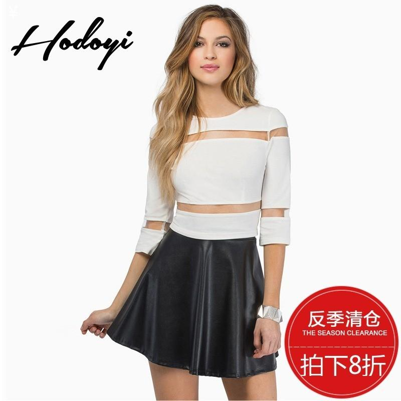 097ee693f6ef97 Sexy Seen Through Split Front Hollow Out Slimming Spring Crop Top T-shirt  Basics - Bonny YZOZO Boutique Store