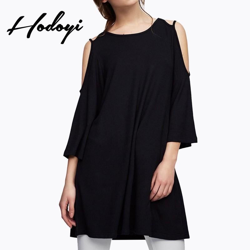 Wedding - 2017 summer new products women's Sweet fashion pure color off shoulder loose A-line cropped sleeve dress female - Bonny YZOZO Boutique Store