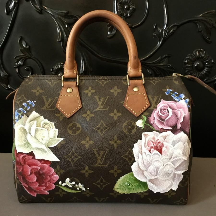536d1de6e50c Hand painted Custom personalized Louis Vuitton handbag Flower design on LV,  Goyard, Chanel and more