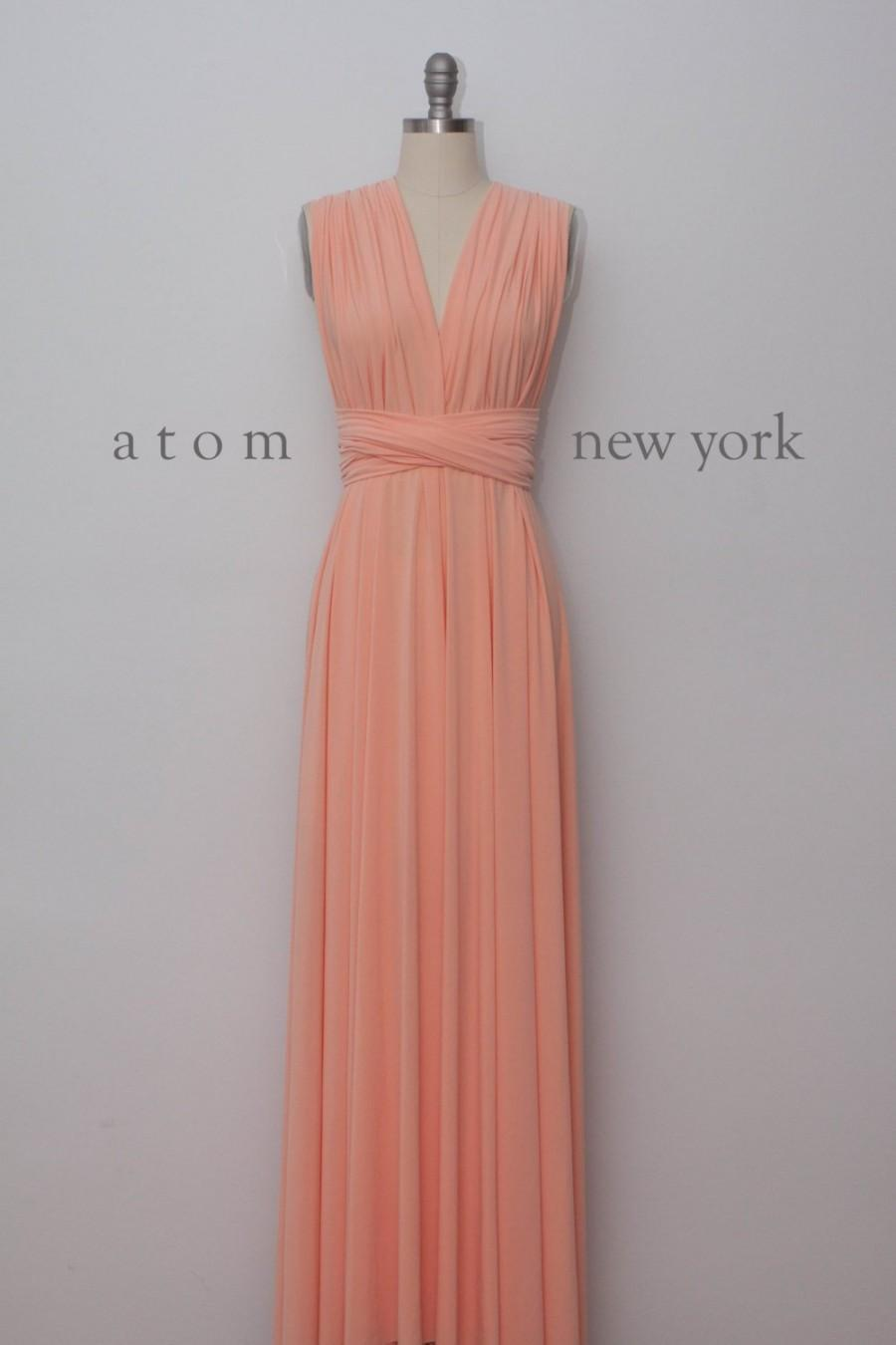 Mariage - Peach LONG Floor Length Gown Maxi Infinity Dress Convertible Formal Multiway Wrap Bridesmaid Dress Evening Wedding Prom Party Transform