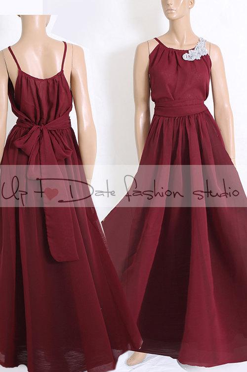 Mariage - Bridesmaid chiffon dress/marsala color floor length dress/evening/wedding guest dress/prom/wedding party/cockail dress