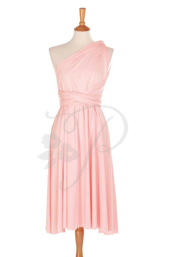Short Straight Hem Bridesmaid Dress Infinity Dress Blush Knee Length  Convertible Dress Multiway Wrap Dress d70c0b597219