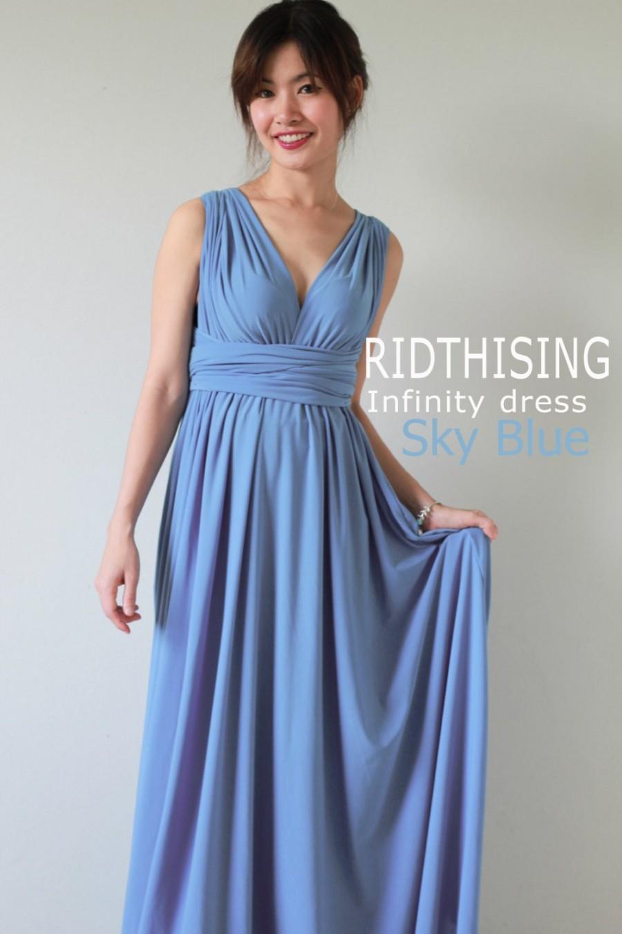 Mariage - Maxi Sky Blue Infinity Dress Bridesmaid Dress Prom Dress Convertible Dress Wrap Dress