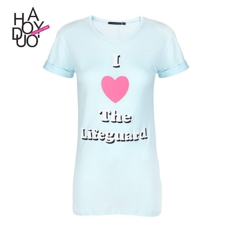 Hochzeit - Vogue Fresh Printed Short Sleeves Heart-shape Alphabet Summer T-shirt - Bonny YZOZO Boutique Store