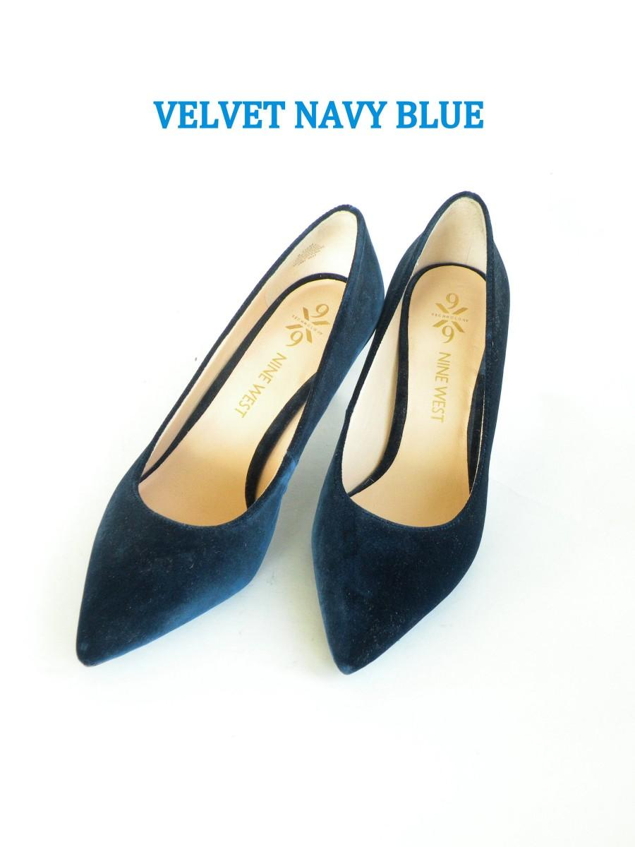 Mariage - Blue Velvet Pumps- Blue Wedding Shoes- Velvet Bridesmaid Shoes- Christmas Wedding Shoes- Vintage Bride Shoes- Elegant Shoes- Formal Shoes