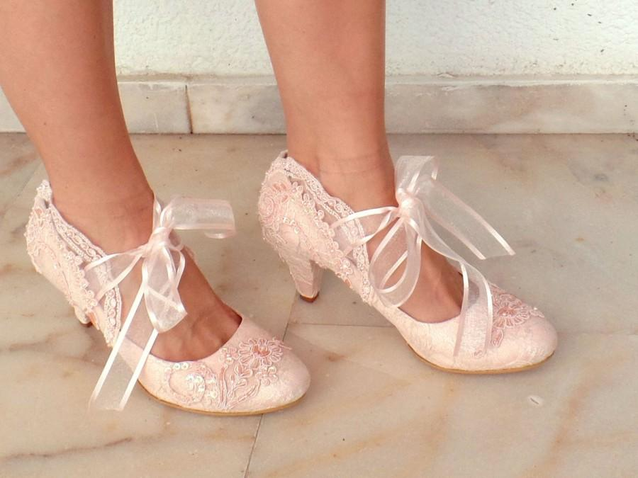 Mariage - Blush Embellished Lace Wedding Shoes with Ribbons
