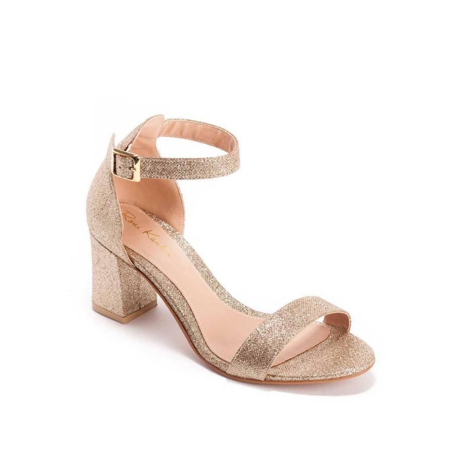 Wedding - Dafna Gold Block Heel Summer Bridal Sandal, Vegan Mid Heel Sparkling Gold Wedding Shoe