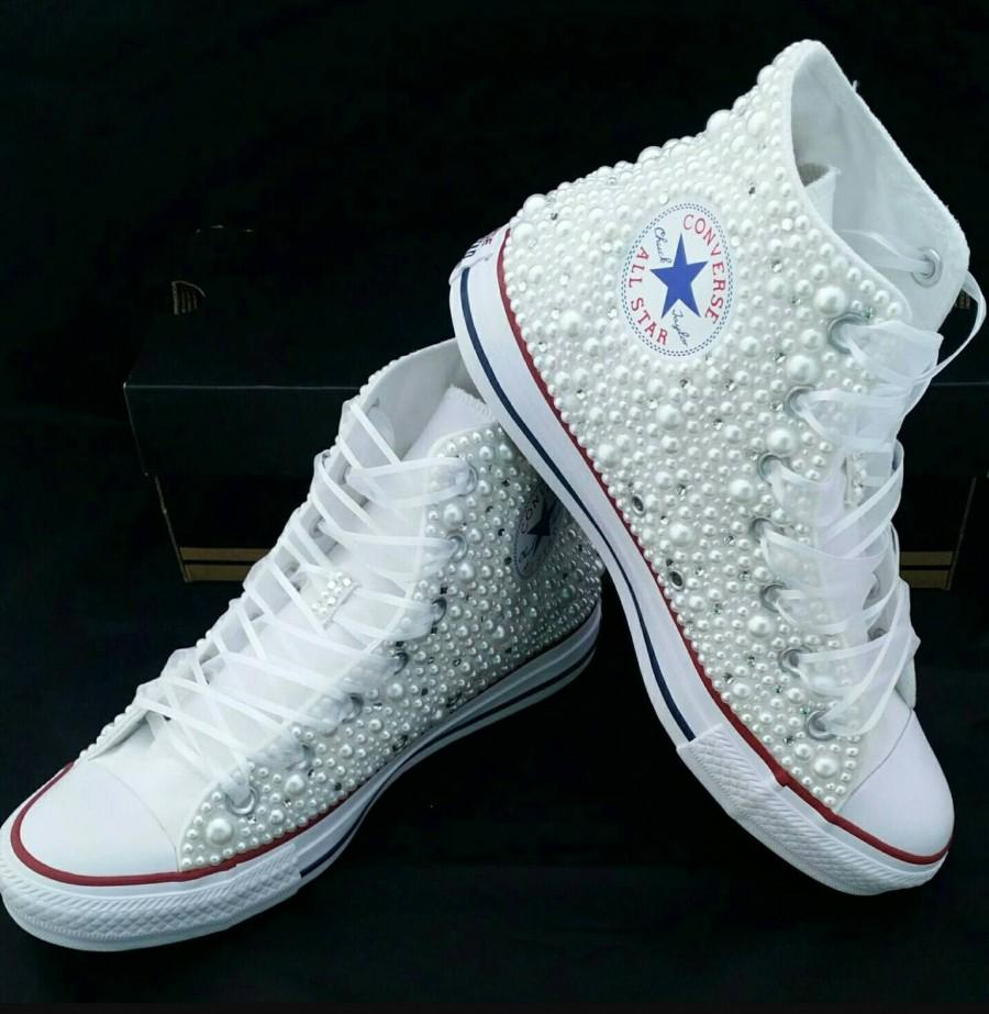 زفاف - White beaded converse perfect for wedding, sweet 16, or any special occasion