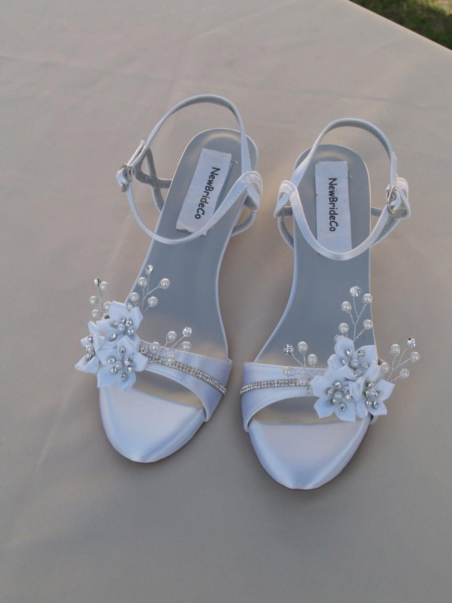 Wedding - Wedding Shoes low Wedge 1 inch heel flowers crystals,Short Heel,White Satin Open Toe Bridal Sandal, Bling, White Flowers, Old Hollywood,Deco
