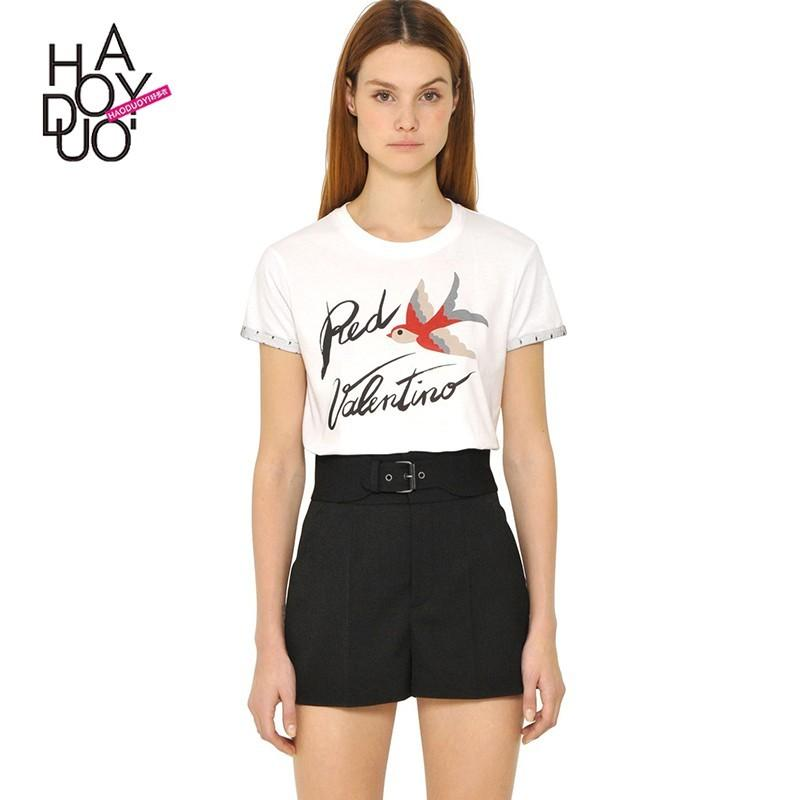Mariage - Vogue Printed Alphabet Animals Summer Casual Short Sleeves T-shirt - Bonny YZOZO Boutique Store
