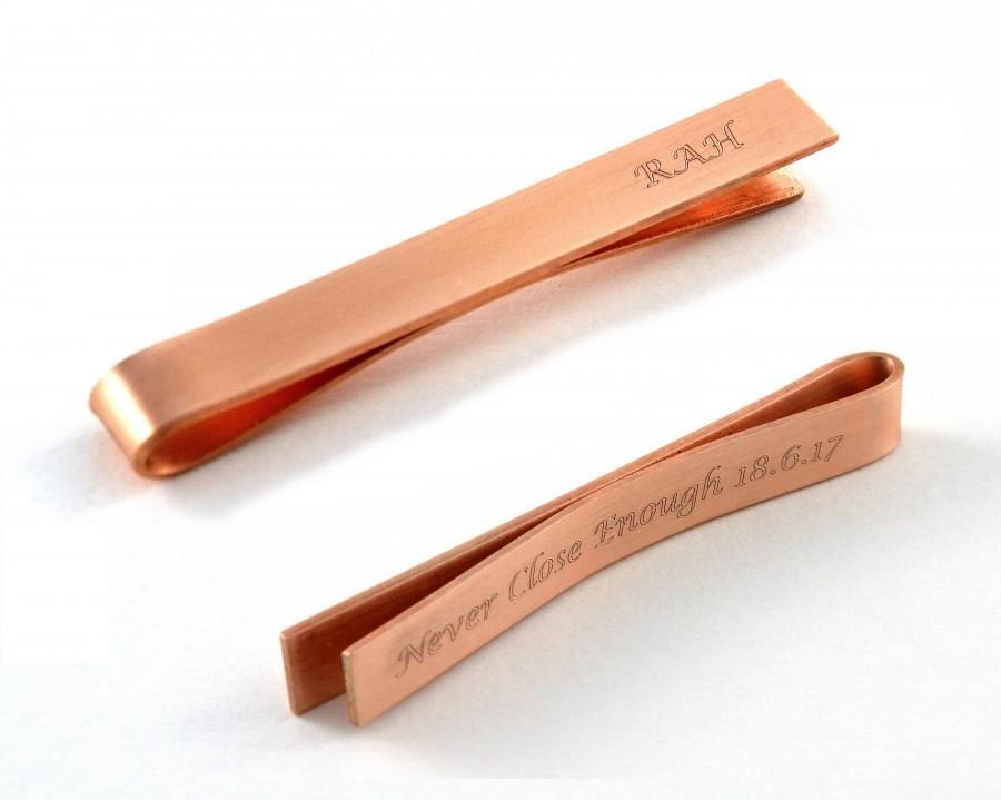 Engraved Tie Clip, Monogrammed Copper