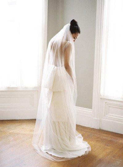 Свадьба - Floor length Wedding Bridal Veil 72 long inches white, ivory, Wedding veil Long double single layer Veil floor length  cut edge veil