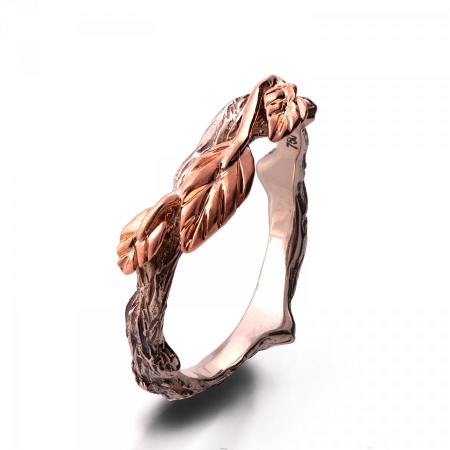 Hochzeit - Twig and Leaf Wedding Ring, 18K Rose Gold Bark Wedding Ring, Unique Wedding ring, Two tone band, bark wedding ring, rose gold ring, 11