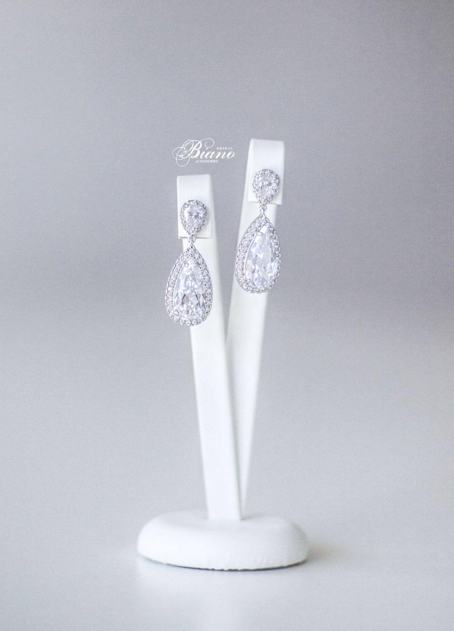 Hochzeit - Drop Earrings, Wedding Cubic Zirconia Earrings, Bridesmaid Earrings, Bridal Earrings, Bridal Party Jewelry Gift, Crystal Earrings - CALISTA
