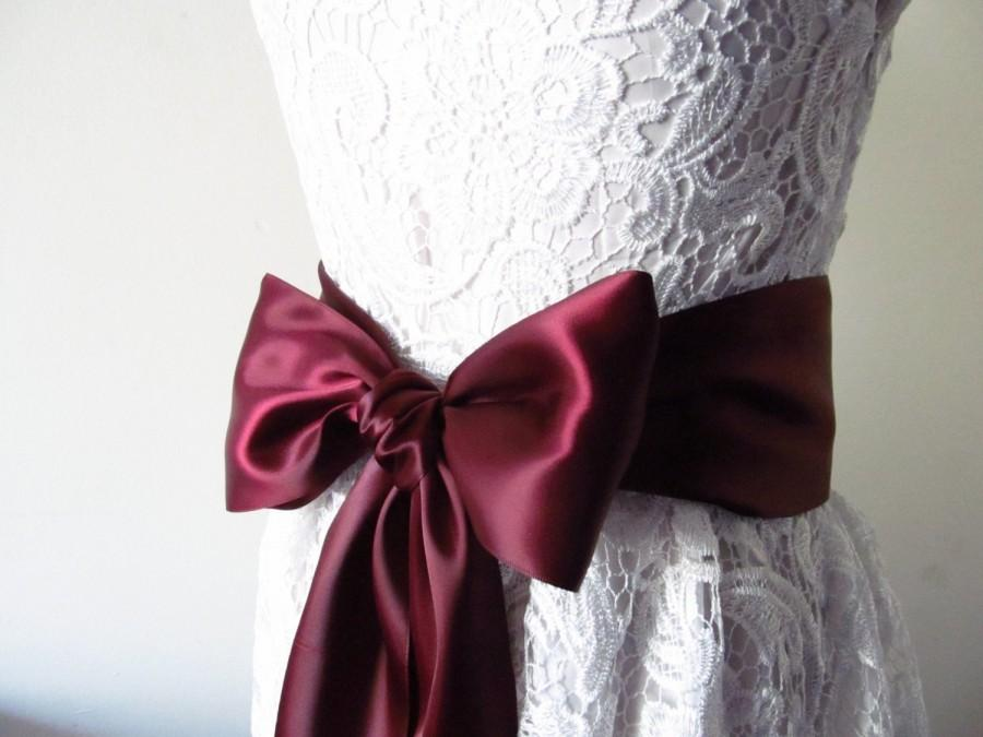Свадьба - Burgundy Satin  Ribbon Sash / Burgundy Ribbon Sash /  DIY bridal sash / 12ft sash / 9 ft sash /6ft sash