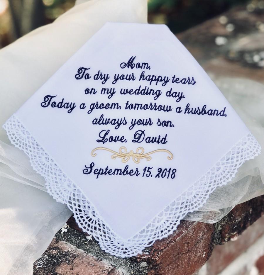 Свадьба - Mother of The Groom Wedding Gift - Handkerchief, Hankies, Hanky, Hankerchief  - DRY your TEARS - Today a GROOM -  Mother of the Groom Gift