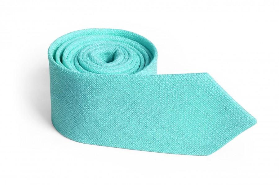 Hochzeit - Robin Egg Blue Tie SPA David's Bridal Men's skinny Mint tie  Wedding Ties Necktie for Men FREE GIFT