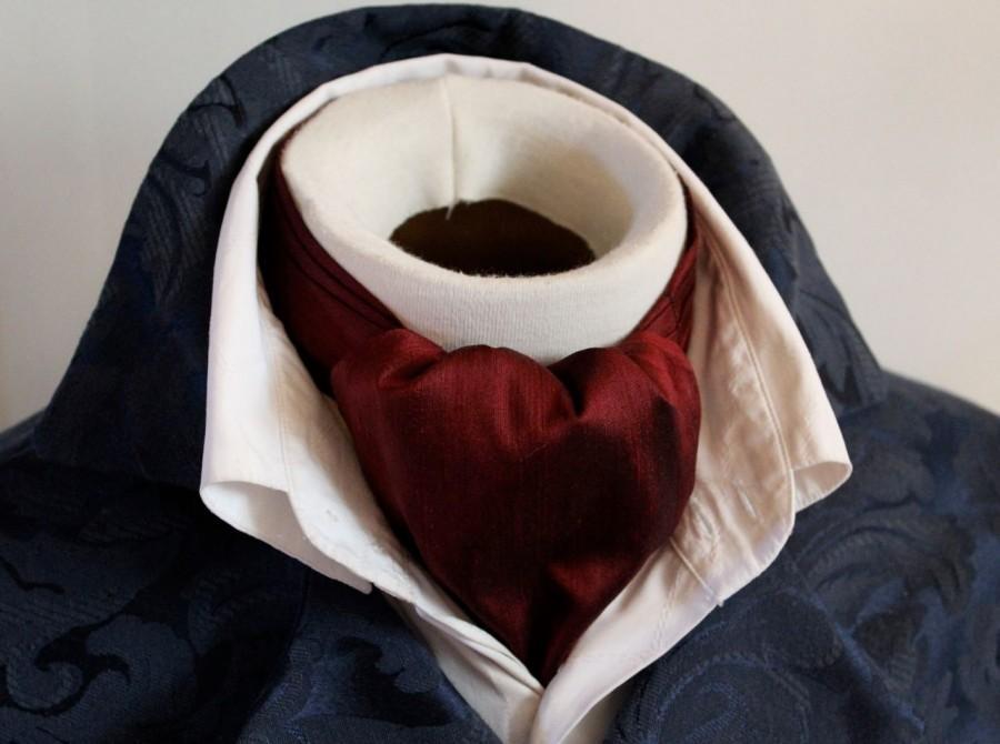 زفاف - DAY Cravat Victorian Ascot Tie Cravat - Maroon Red Wine Dupioni SILK