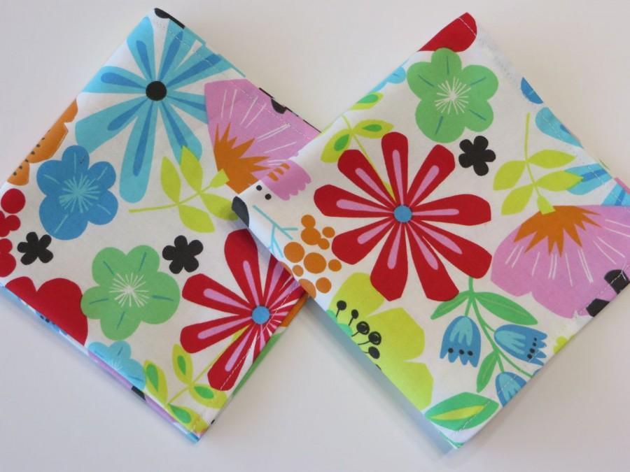 Mariage - Ladies Handkerchief set of 2 Floral hankerchiefs, floral Hankies, Large Colorful Flowers Handkerchiefs, Handmade cotton Hankies