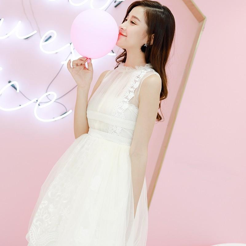 Mariage - Split Front Embroidery Slimming A-line High Waisted Tulle Lace Dress - Bonny YZOZO Boutique Store