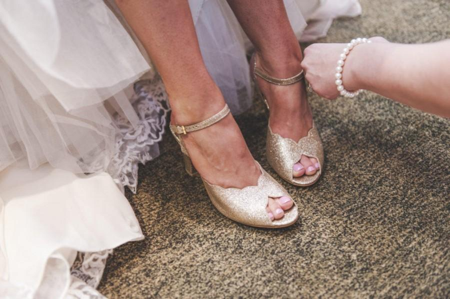 Свадьба - Adina Vegan  Bridal Shoes, Sparkly Gold High Heel Wedding Sandal with a Vintage Flair