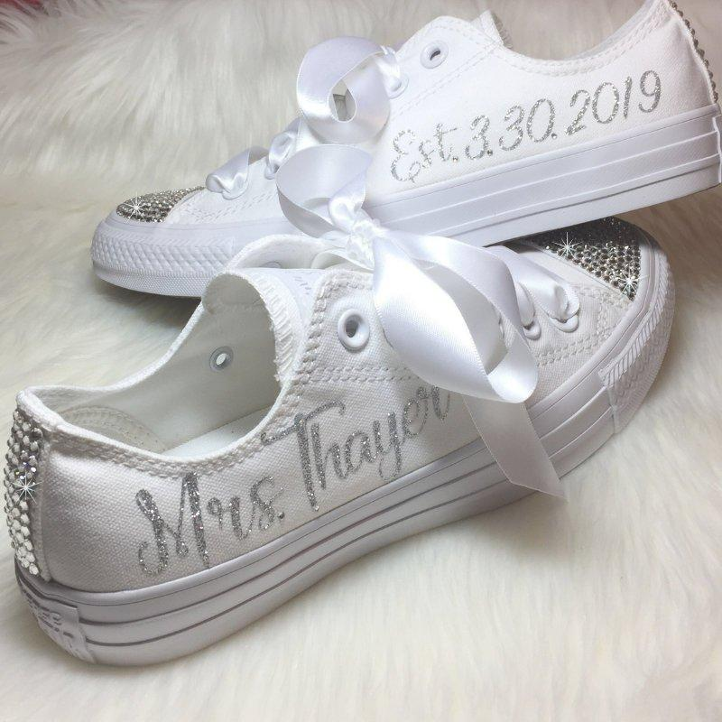 زفاف - Wedding CONVERSE for the BRIDE Swarovski Personalized Chucks Bling and Bedazzled  with YOUR New Name & Date