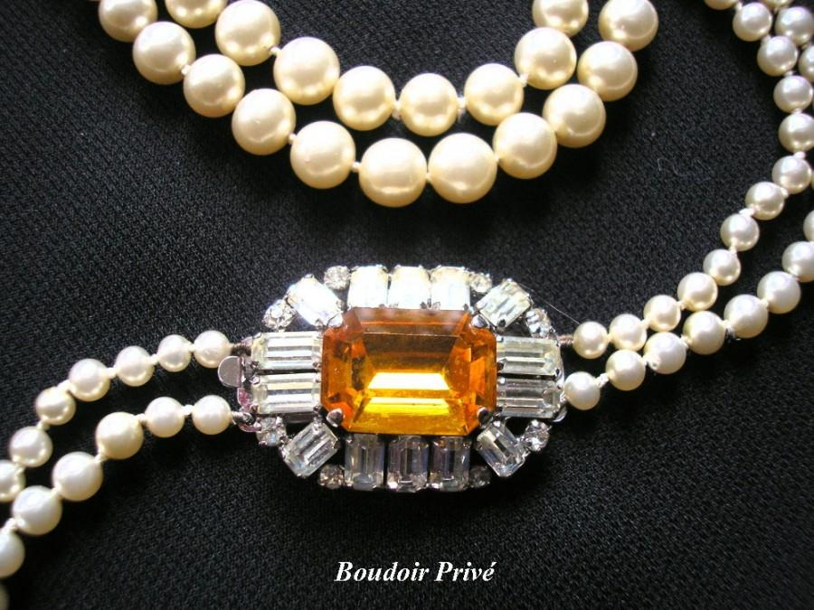 Wedding - Long Pearl Necklace With Citrine Rhinestone Clasp
