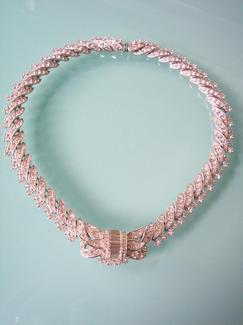 Hochzeit - Vintage Signed Attwood & Sawyer Rhinestone Necklace