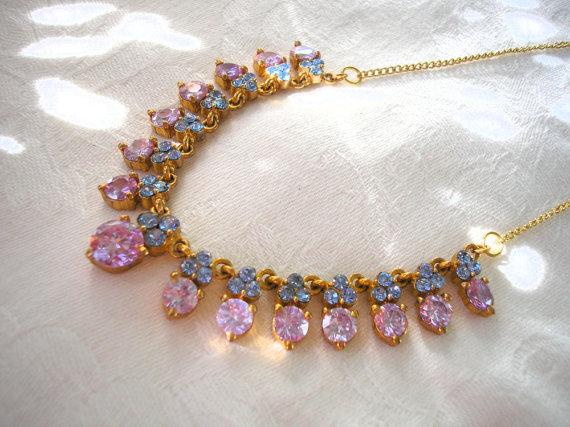 Wedding - Amethyst Rhinestone Necklace, Prom