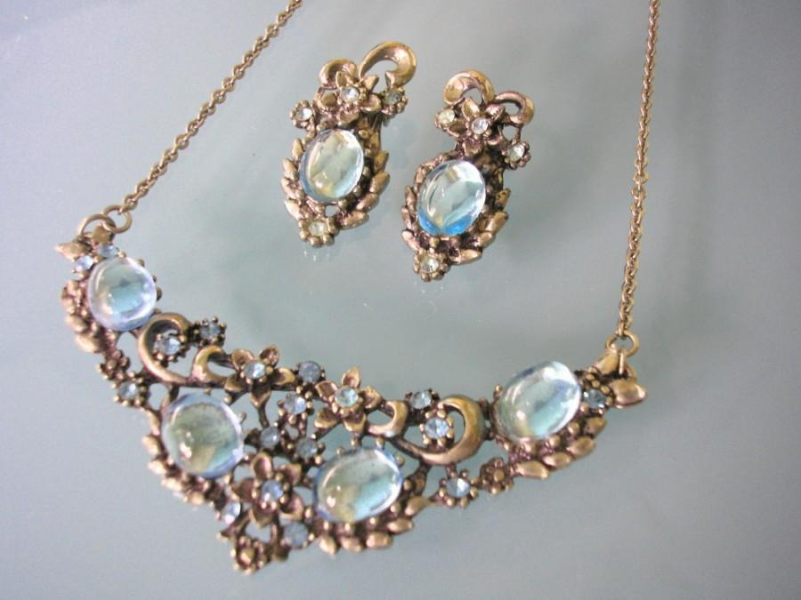 Mariage - Vintage Turquoise Rhinestone Necklace And Earrings Set