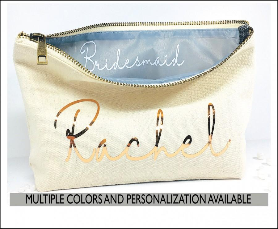 Mariage - Maid of Honor  proposal, BRIDESMAID, Customized gift, Navy blue, makeup bag secret message, Bridal party gift, Zipper pouche, cursive script