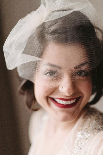 Hochzeit - Tulle Bandeau Veil, Birdcage Veil, Wedding Veil, Bridal Veil, Tulle Veil, Bird Cage Veil