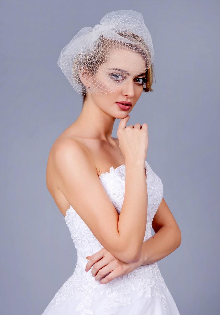 Hochzeit - Full Double layer birdcage veil - Bandeau Veil, Birdcage Veil, Wedding Veil, Bridal Veil, Russian Veil Tulle Veil, Bird Cage Veil, 2 layer