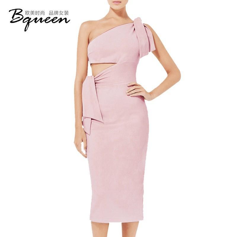 Mariage - 2017 new spring Women's solid color lace oblique shoulder WISP of air long dress bandage skirt - Bonny YZOZO Boutique Store