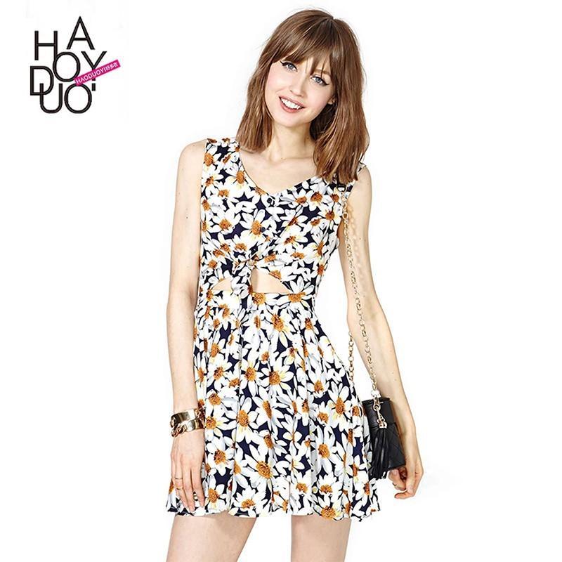 Hochzeit - Vogue Sweet Pleated Hollow Out Floral Tie Short Sleeves Dress - Bonny YZOZO Boutique Store