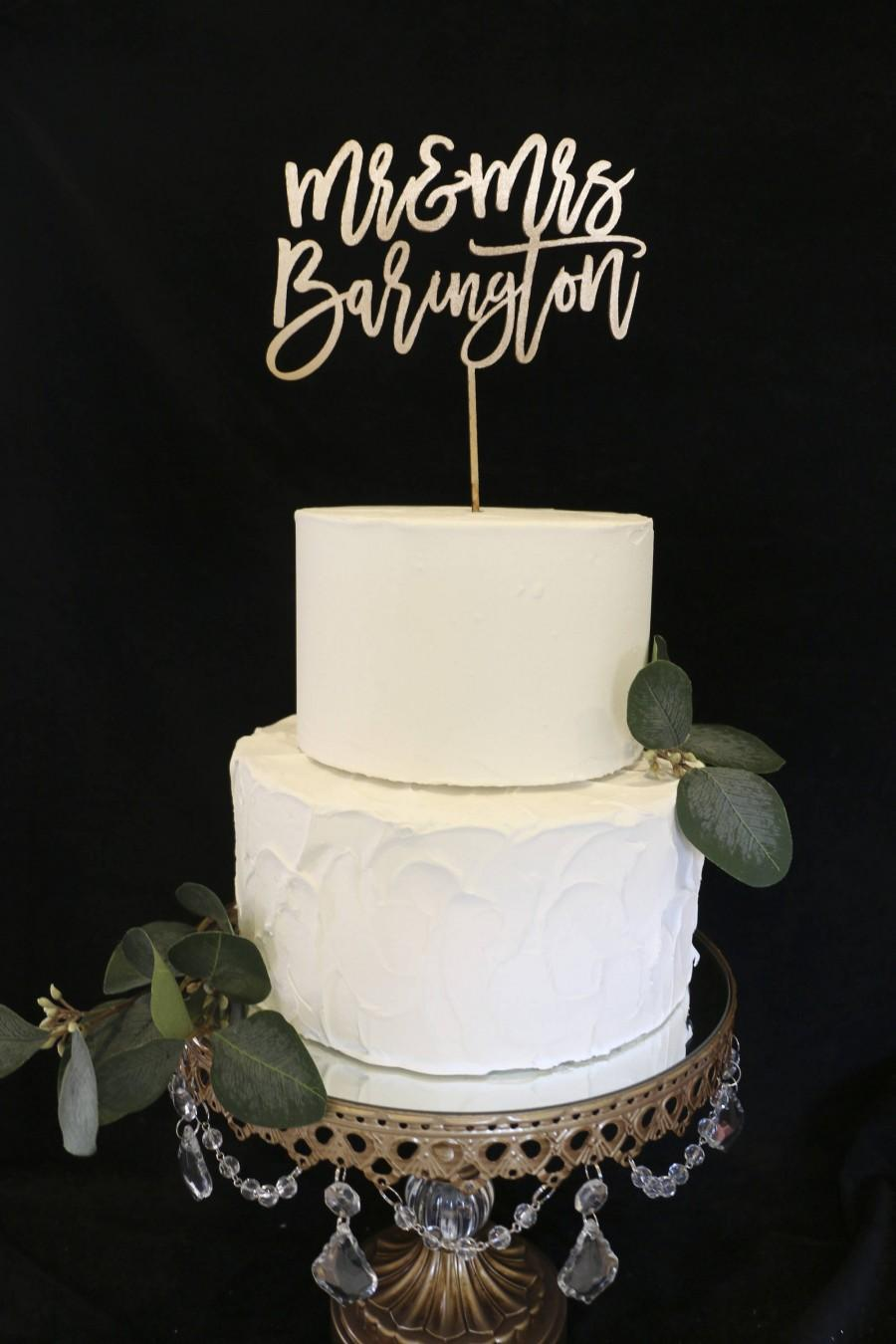 Hochzeit - Custom Calligraphy Mr and Mrs Wedding Cake Topper-Gold