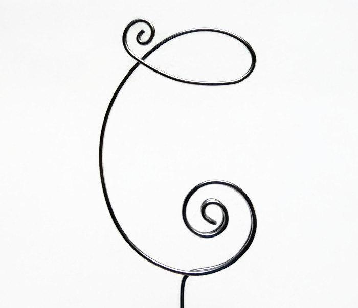 Mariage - Wire Monogram Initial Cake Topper 4 Inch 5 Inch- Your Choice of Letter C- Silver, Gold, Brown, Black, Red, Copper