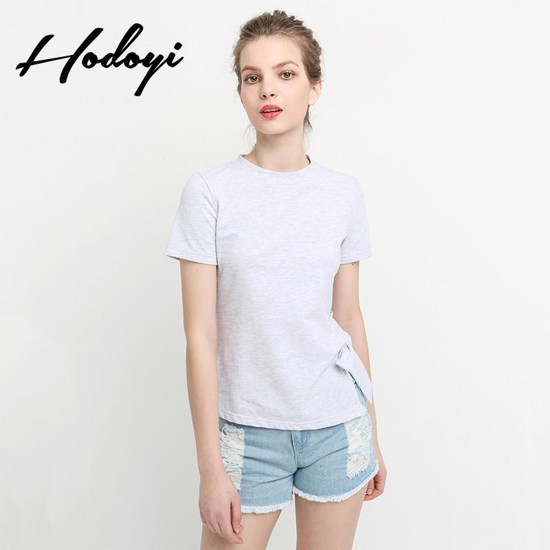 زفاف - Vogue Split Asymmetrical Summer Tie Short Sleeves T-shirt - Bonny YZOZO Boutique Store