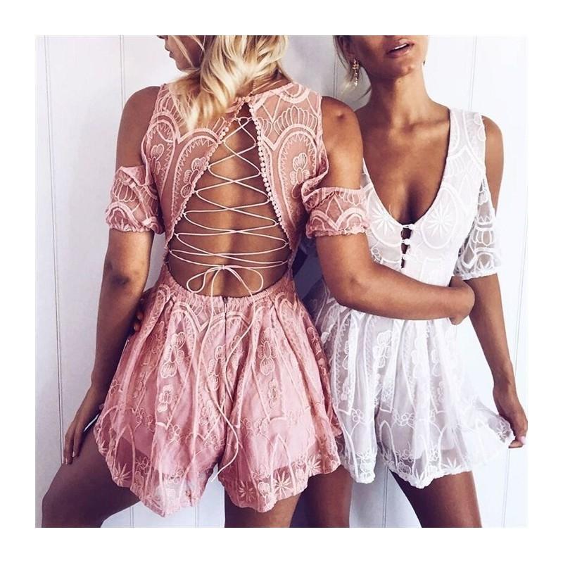 زفاف - Sexy Slimming V-neck Off-the-Shoulder Crossed Straps Lace Up Goddess Holiday Lace Jumpsuit - Bonny YZOZO Boutique Store