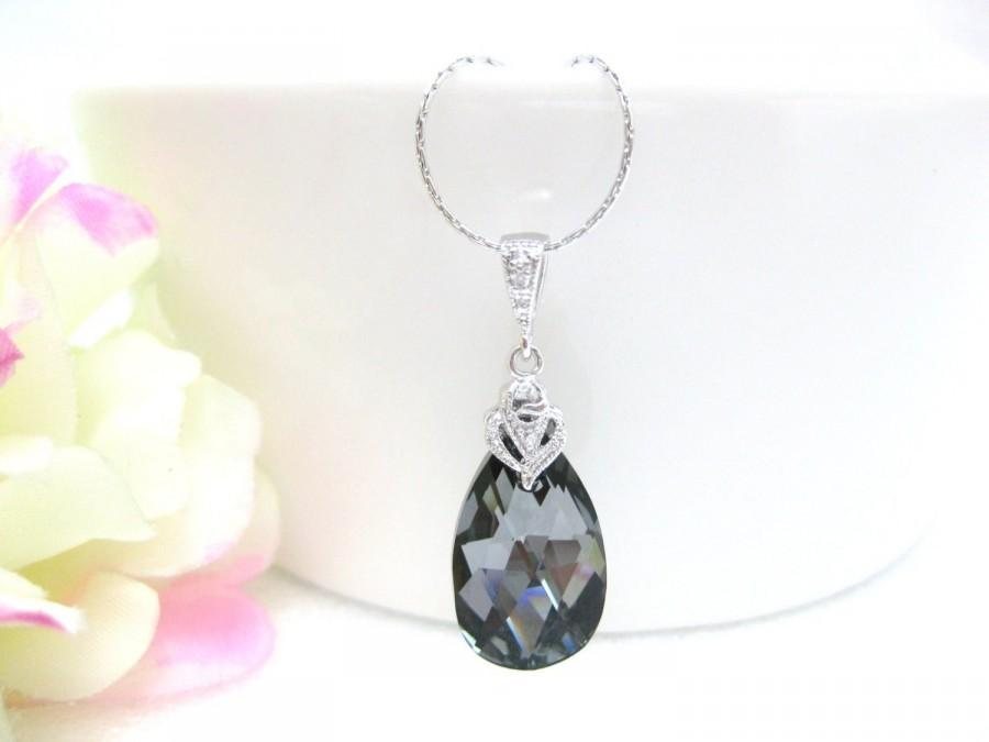 Mariage - Silver Night Black Necklace Swarovski Crystal Teardrop Necklace Wedding Jewelry Bridesmaid Gift Bridal Necklace Dark Grey Jewelry (N002)