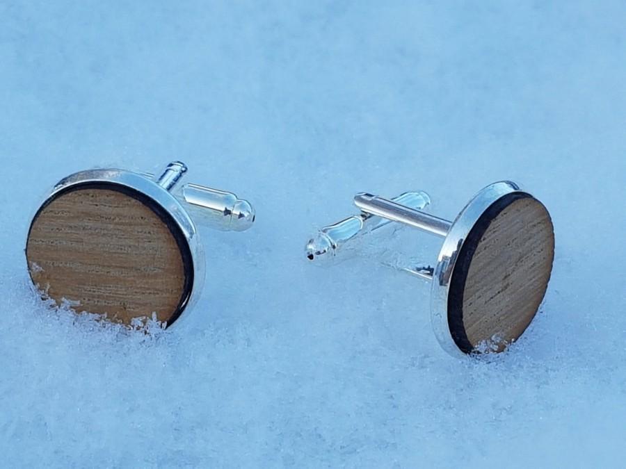 Свадьба - Whisky Barrel stave cufflinks- silver colour whiskey cufflinks-Scottish cufflinks-oak cuff links-gift for men