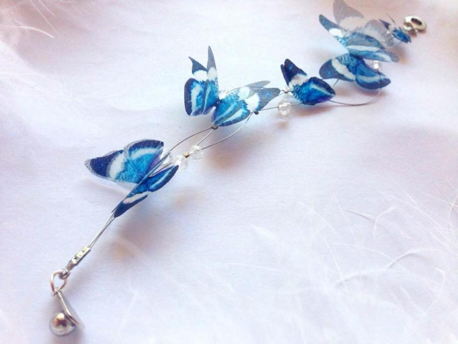 Свадьба - Butterfly bracelet, Bracelet with butterflies, Butterflies on bracelet, Silk butterflies bracelet, Bracelet with silk butterflies, Butterfly