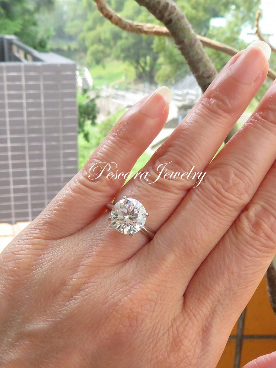 Wedding - 4Ct Classic Round Solitaire Ring, 4-prongs round cut solitaire ring, engagement ring, bridal ring, promise ring
