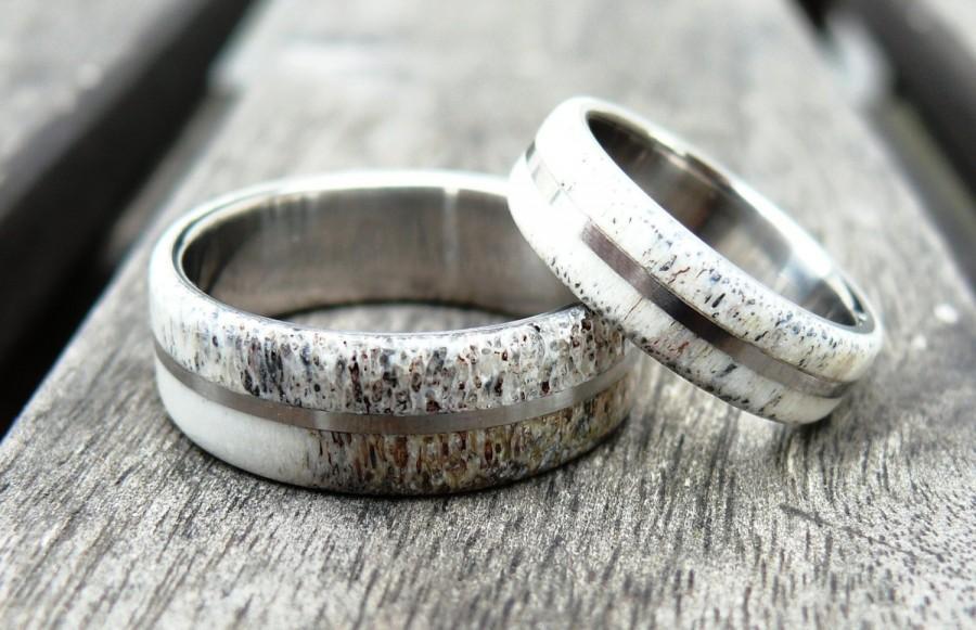 Titanium And Deer Antler Wedding Band Set Two Wedding Ring