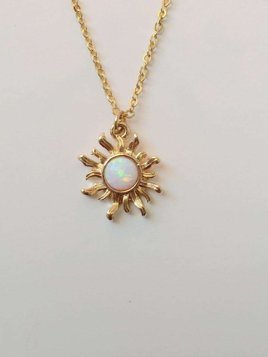 Свадьба - Rose Gold White Opal Sun  Necklace/Opal Necklace