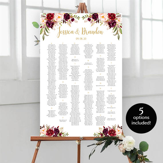Wedding Seating Chart Template Editable Wedding Table Seating Chart