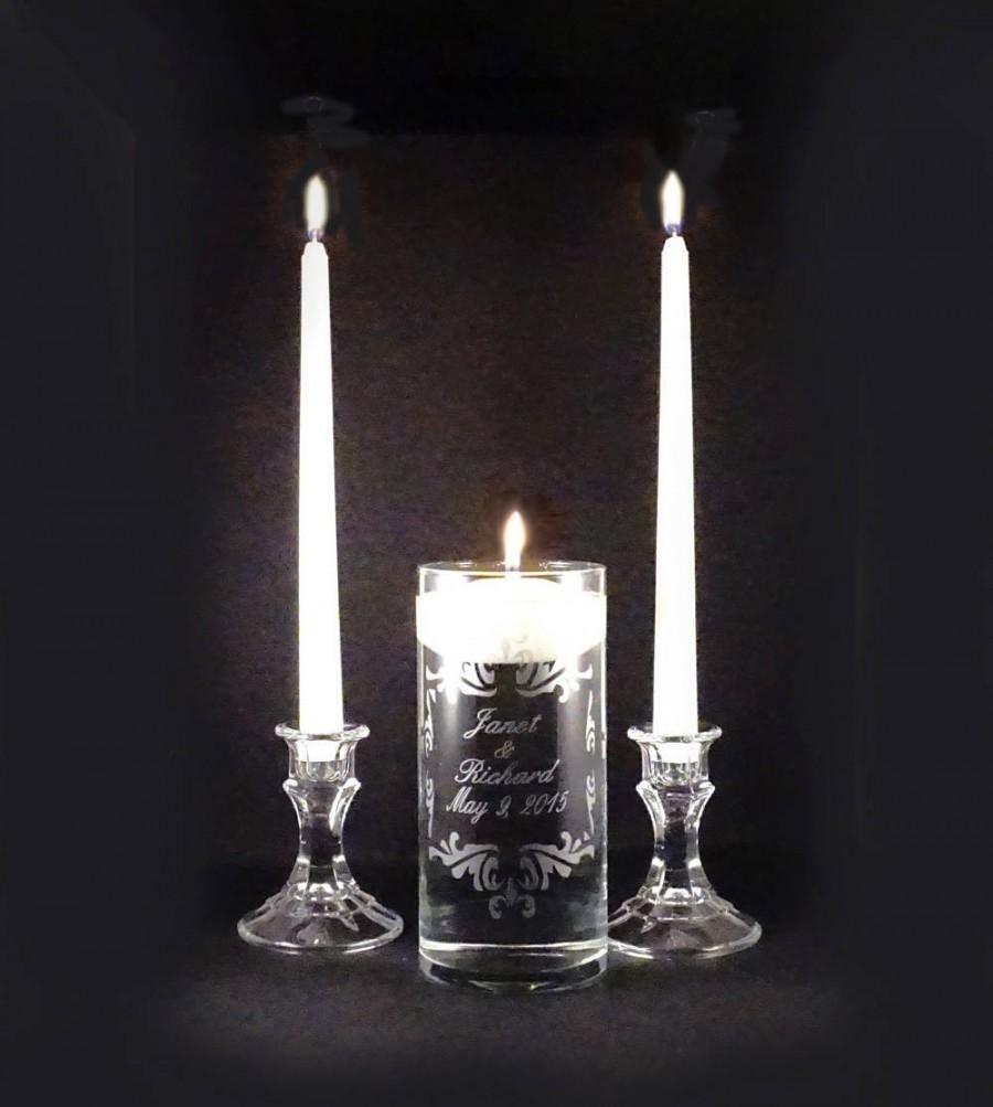 Mariage - Custom Personalized Wedding Unity Candle Vase Set - Personalized Etched Glass Vase -  Unity Candle Set