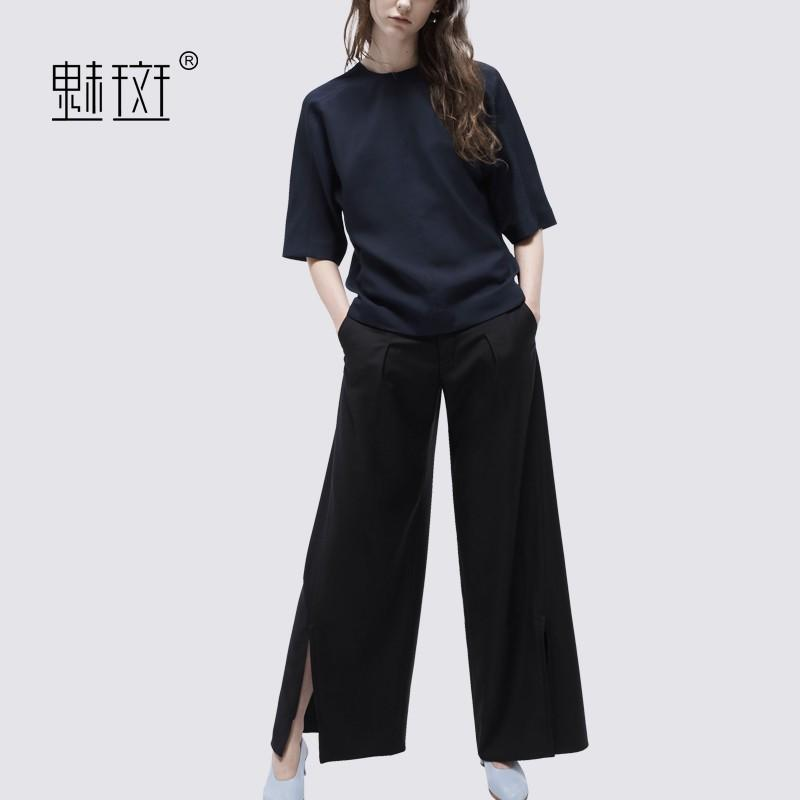 Wedding - Oversized Vogue Scoop Neck 1/2 Sleeves Summer Casual Outfit Twinset Wide Leg Pant T-shirt - Bonny YZOZO Boutique Store