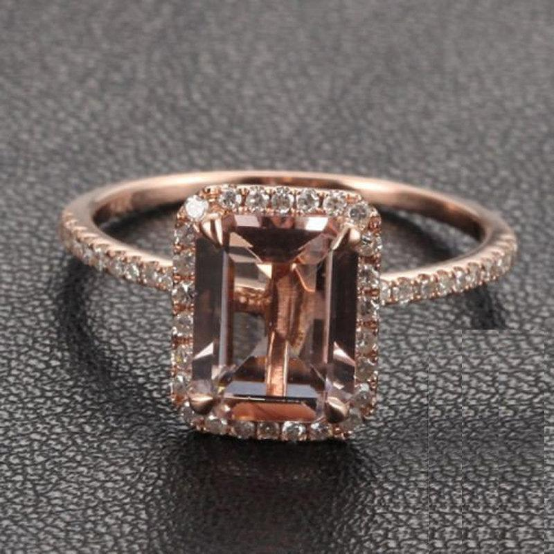 Wedding - Limited Time Sale 1.50 Carat Morganite (emerald cut Morganite) Diamond Engagement Ring 10k Rose Gold